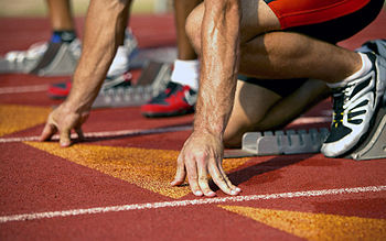 English: Anxious Athlete Waiting at Starting Line