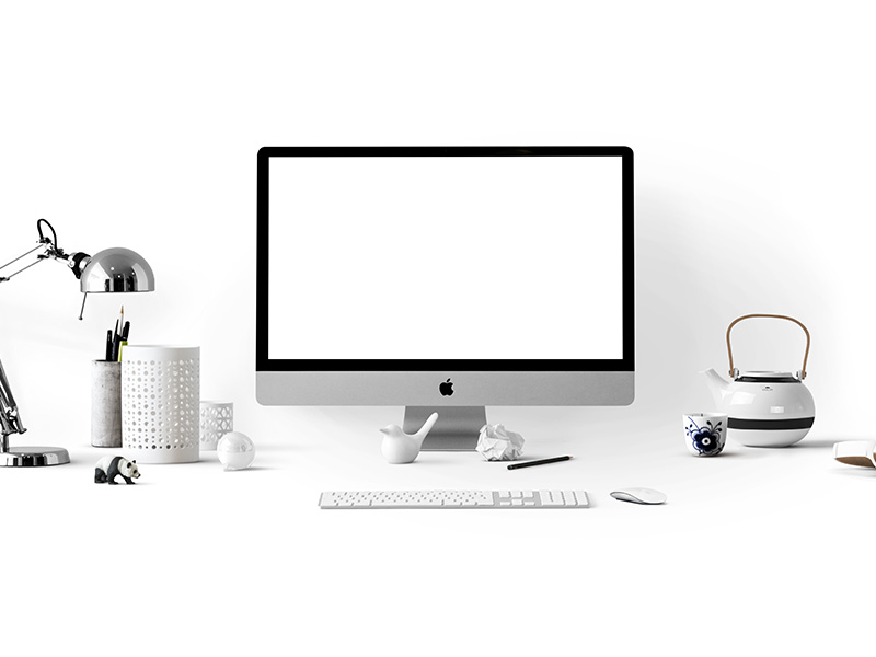 IMac With Other White Desk Accessories