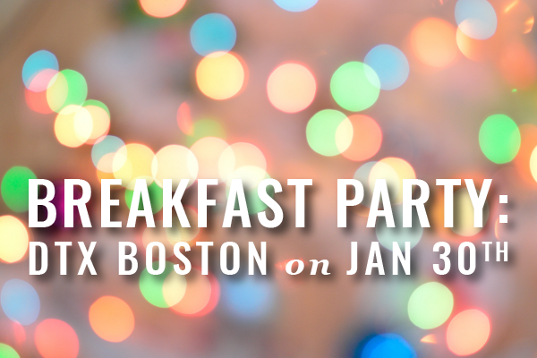 Blurred Multi-colored Lights With Text Layer That Says Breakfast Party: DTX Boston On Jan 30th
