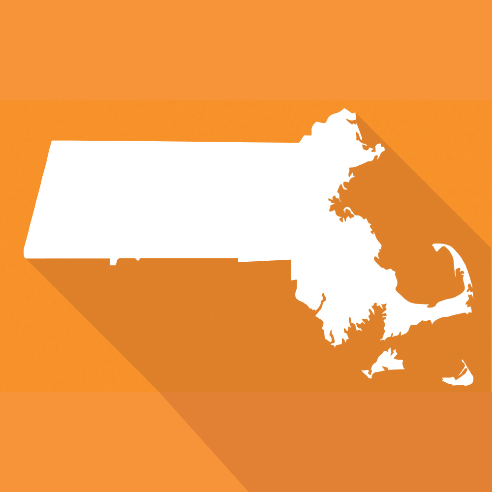 the shape of Massachusetts in white with orange background
