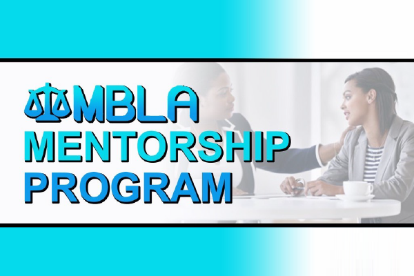 The Words MBLA Mentorship Program Over An Image Of Two People Looking At Each Other While Talking