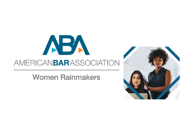 The Text Logo For American Bar Association Women Rainmakers With A Photo Of Two Women, One Seated At A Laptop, One Standing Holding A Laptop