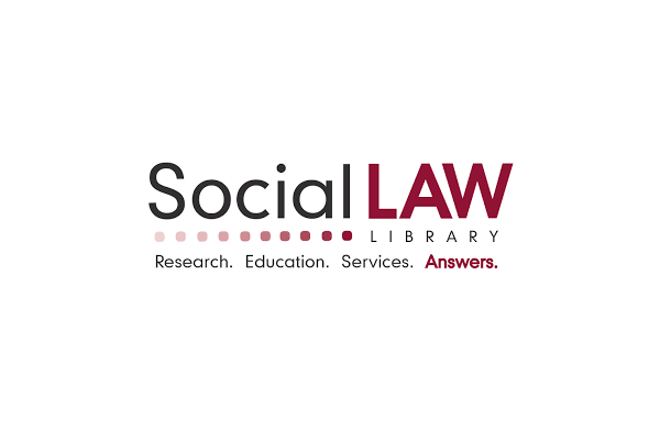 """Social Law Library Logo , Including The Text """"Research. Education. Services. Answers."""""""