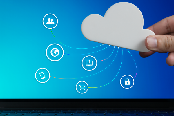 An Image Of Fingertips Holding A Cutout Of A Cloud With A Graphic Overlay Of Office-related Icons