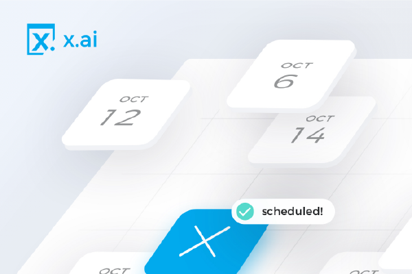 The X.ai Logo In The Upper Left Corner With A Graphic Of A Three Dimensional Calendar With Three October Dates In White Squares And One Blue Square With An X Elevated Above The Rest, And A Bubble That Says 'scheduled!'