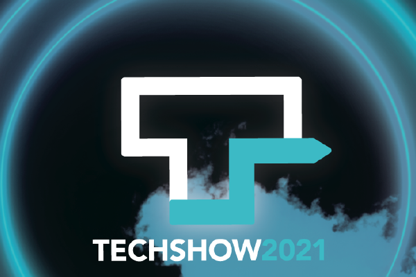 An Image Of The ABA TECHSHOW Logo Comprised Of A White Outline Of The Letter T On A Black Background With An Electric Blue Arrow Extending From It And TECHSHOW 2021 Written Below With Electric Blue Smoke Gathering At The Bottom With A Glowing Electric Blue Double Ring Surrounding Everything