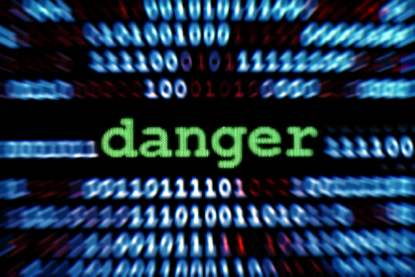 """An Image Of Strings Of 1's And 0's In Blue With Black Background, And The Text """"danger"""" In Larger, Green Type"""