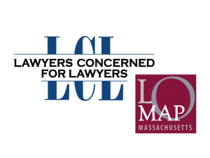 """comprised of blue letters LCL with text """"Lawyers Concerned for Lawyers"""" running through the center, next to a maroon square with gray letters LOMAP inside it"""
